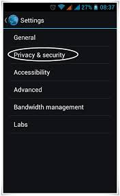 Android browser settings