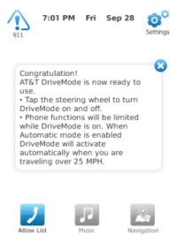 AT&T Drive Mode Black Berry